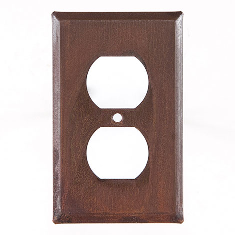 Single Outlet Cover Unpierced in Rustic Tin 4 Pieces