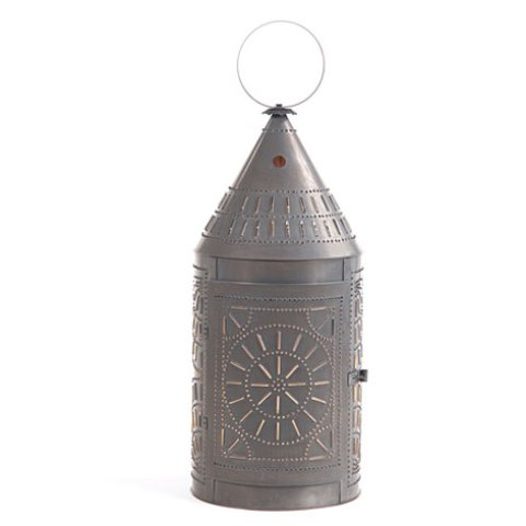 Tinner's Lantern with Chisel in Blackened Tin 36 In