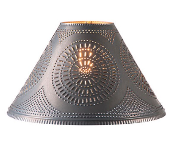 Flared Shade with Chisel in Blackened Tin 15 Inch