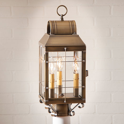Martha's Post Lantern in Weathered Brass-Marthas Post Lantern in Weathered Brass