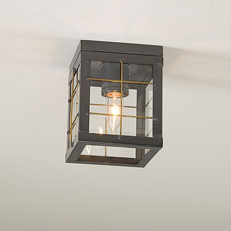 Single Ceiling Light with Brass Bars in Country Tin-Single Ceiling Light with Brass Bars in Country Tin