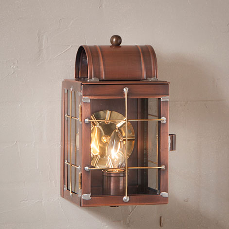 Small Wall Lantern in Antique Copper-Small Wall Lantern in Antique Copper
