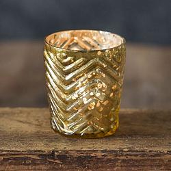 Zigzag Mercury Glass Votive Holder-Zigzag Mercury Glass Votive Holder