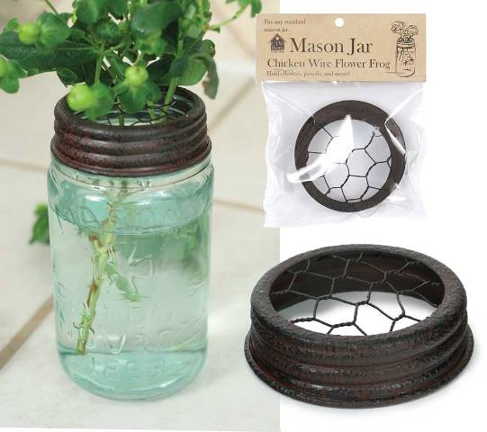 Mason Jar Chicken Wire Flower Frog Lid-Mason Jar Chicken Wire Flower Frog Lid