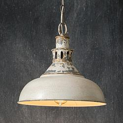 Distressed White Barn Pendant Light-Distressed White Barn Pendant Light