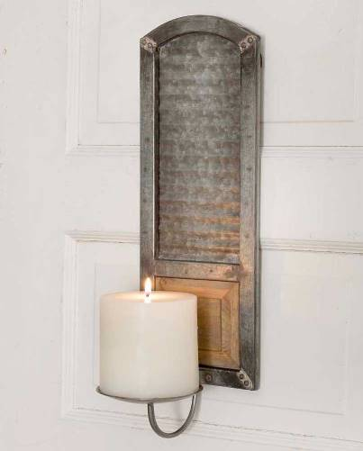 Metal Washboard Pillar Candle Sconce-Metal Washboard Pillar Candle Sconce