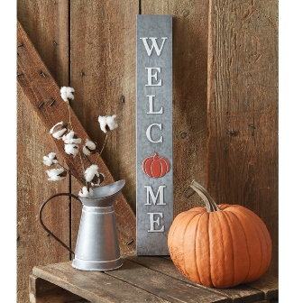 Galvanized Welcome Fall Sign-Galvanized Welcome Fall Sign