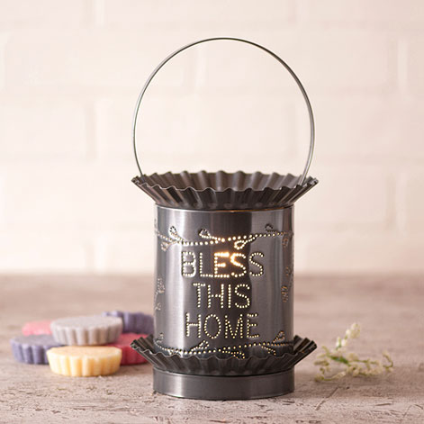 Jumbo Tartwarmer with Bless This Home in Country Tin