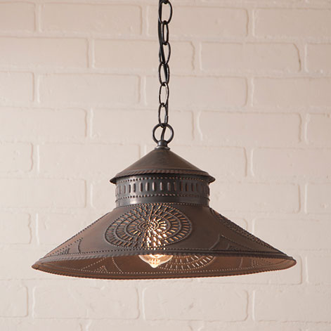 Shopkeeper Shade Light with Chisel in Blackened Tin-Shopkeeper Shade Light with Chisel in Blackened Tin