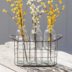 Farmhouse Caddy with Three Glass Bottles-Farmhouse Caddy with Three Glass Bottles