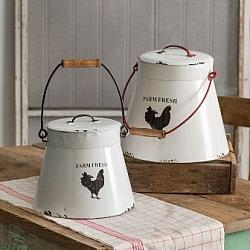 Set of Two Flared Bottom Buckets W/Lids-Set of Two Flared Bottom Buckets WLids