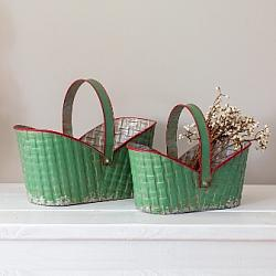 Set of Two Holiday Metal Baskets-Set of Two Holiday Metal Baskets
