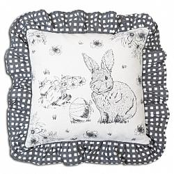 Black and White Bunny Throw Pillow-Black and White Bunny Throw Pillow