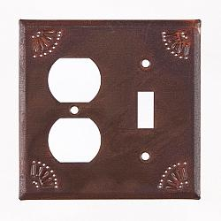Outlet and Switch Cover w/Chisel in Rustic Tin-Outlet and Switch Cover wChisel in Rustic Tin