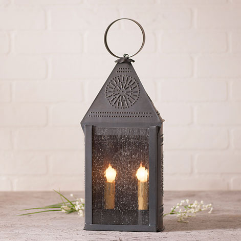 Hospitality Lantern with Chisel in Blackened Tin-Hospitality Lantern with Chisel in Blackened Tin