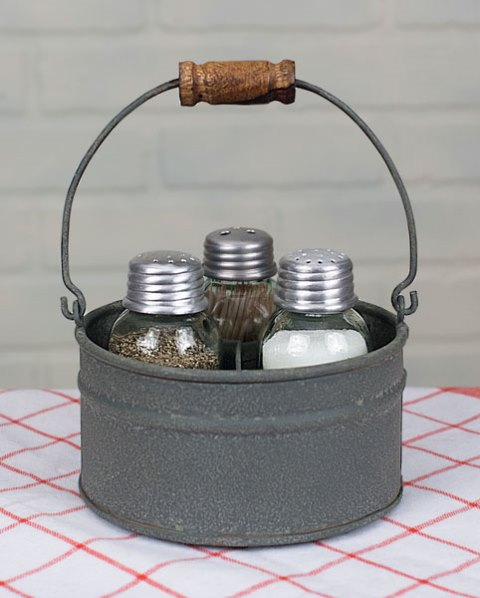 Round Bucket Salt Pepper and Toothpick Caddy-Round Bucket Salt Pepper and Toothpick Caddy