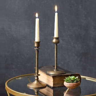Set of Two Brass Taper Candle Holders-Set of Two Brass Taper Candle Holders