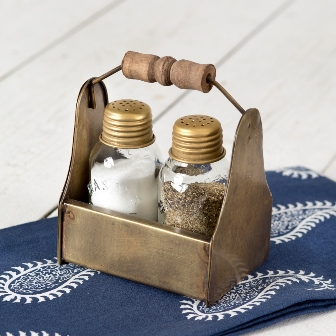 Tiny Toolbox Salt and Pepper Caddy - Antique Brass-Tiny Toolbox Salt and Pepper Caddy - Antique Brass
