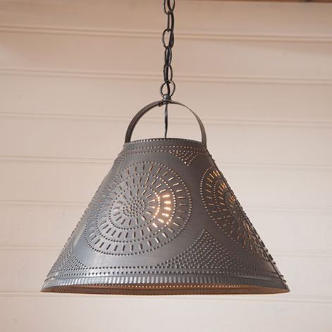Homestead Shade Light with Chisel in Blackened Tin-Homestead Shade Light with Chisel in Blackened Tin
