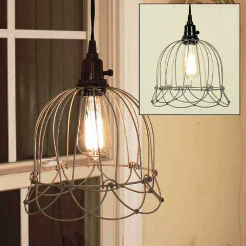 Small Wire Bell Pendant Lamp - Barn Roof-Small Wire Bell Pendant Lamp - Barn Roof