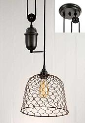 Chicken Wire Dome Pulldown Pendant Lamp-Chicken Wire Dome Pulldown Pendant Lamp