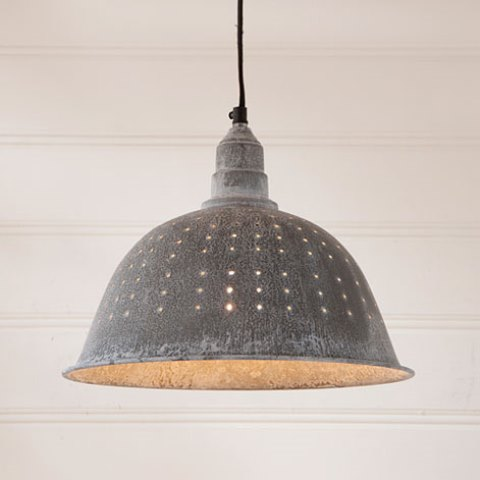 Colander Pendant Light in Weathered Zinc-Colander Pendant Light in Weathered Zinc